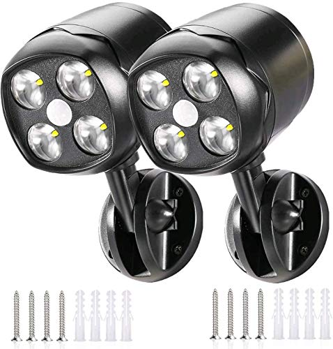 Quiltered Battery Powered Motion Sensor Spotlight Outdoor Wireless, 4 LED Security Lights 600 Lumens Waterproof Wall Lighting Auto On/Off for Porch Stair Hallway Garage Wall (Black, 2pack)