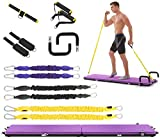 IDEER LIFE Portable Home Gym Workout Package All-in-one Fitness Platform with Yoga Mat/Resistance Bands/Push Up Bars/Ankle Straps/Handles/Casters, Full Body Exercise Equipment for Indoor/Outdoor