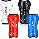 8 Pieces Youth Soccer Shin Guards, Soccer Shin Guards, Child Calf Protective Gear, Soccer Durable Shin Pads with Adjustable Double Straps for Ages 8-15 Boys Girls, 4 x 7.5 Inchv