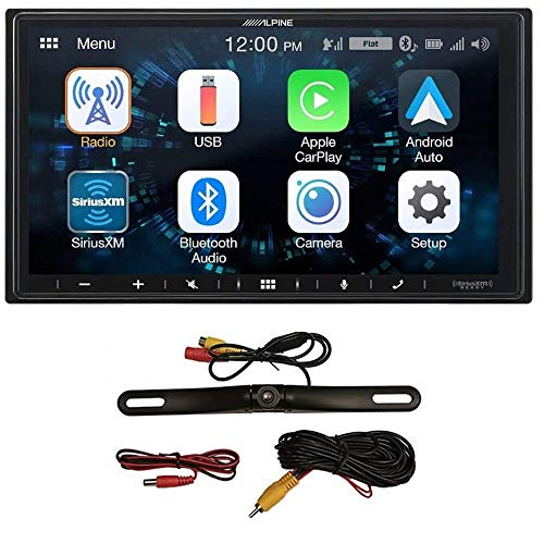 Alpine iLX-W650 7' Mechless Bluetooth Car Receiver Deck and Quinn HD Wide Angle Backup Camera Bundle. Android and iPhone Integration for Android Audio, Apple Car Play, and Streaming Music Apps