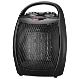 andily Portable Ceramic Space Heater for Home and Office Indoor Use with Adjustable Thermostat Overheat Protection and Carrying Handle ETL Listed, 750W/1500W