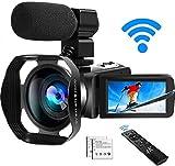 Caméscope 4K Caméra Vidéo Caméscopes WiFi Ultra HD avec Microphone...
