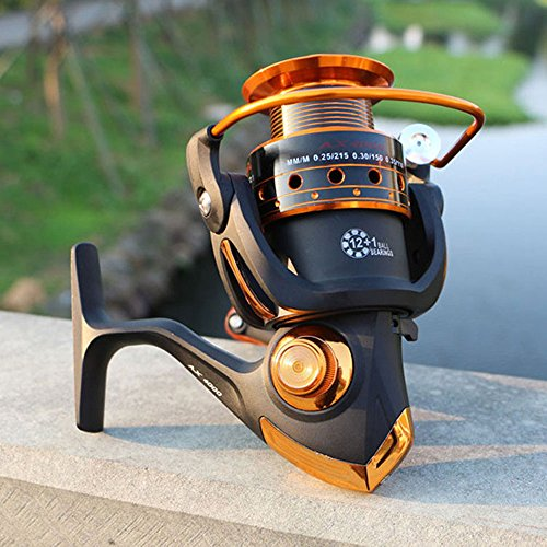 IBalody Mulinello da Pesca Spinning 12BB + 1 Sfere per Cuscinetti Mulinello da Bobina per Mulinello da Bobina in Metallo Serie 500-9000 (Color : 9000)