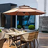 10FT 3 Tiers Patio Umbrella with Lights Windproof Outdoor Market Umbrella Large Waterproof Table Umbrella with Tilt and Crank(Coffee)