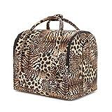 Maletín para Maquillaje, Estuches de Maquillaje, Estuche de Cosméticos, 30x23x27 cm, 4 bandejas,Leopardo