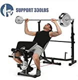 Olympic Weight Bench, Multi-Function Adjustable Weight Bench with Preacher Curl, Leg Developer for Indoor Exercise