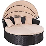 KaiMeng Patio Furniture Round Outdoor Daybed with Retractable Canopy Wicker Rattan Sectional Sofa for Lawn Garden Backyard Pool (Beige)