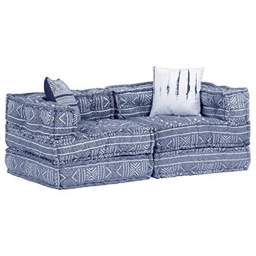 vidaXL Pouf Modulare a 2 Posti Divano Arredo Morbido Imbottito Confortevole Sofa Componibile Poltrona Agrippina Indaco in Tessuto Patchwork