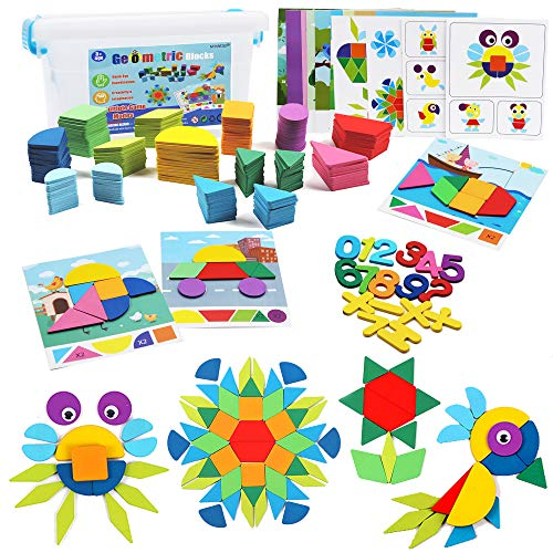 MHMYDIS 200 Pcs Wooden Pattern Blocks Geometric Shape Puzzle Set Classic Educational Toys for Toddlers Kids Boys Girls Age 3+, Tangram Puzzle Brain Teaser Toys with 18 Design Cards