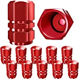 SAMIKIVA Tire Valve Caps, Premium Metal Rubber Seal Tire Valve Stem Caps, Dust Proof Covers Universal fit for Cars, SUVs, Bike and Bicycle, Trucks, Motorcycles (Red)