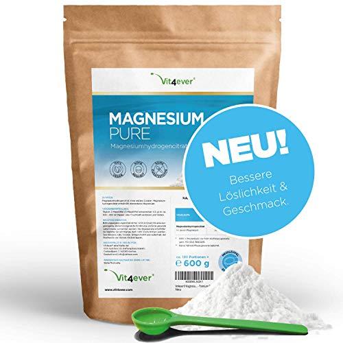 Vit4ever® Magnesium Pure - 600 g Pulver - 100% Magnesiumcitrat - 130 Tagesportionen (4,3 Monate Vorrat) - Laborgeprüft - Reines Pulver ohne Zusätze - Premium Qualität - Vegan