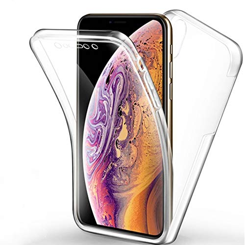 NewTop Cover Compatibile per iPhone X/XR/XS/XS Max, Custodia Crystal Case Guscio in TPU Pet Plastica 360 Fronte Retro (per iPhone XS Max)