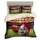 Beddingwish Rugby USA Football Course Pattern Bedding Set,3D Microfiber Sports Bed Set Men Teens Boys,(1 Duvet Cover + 2 Pillowshams, No Comforter,3Pcs) -Full/Queen Size