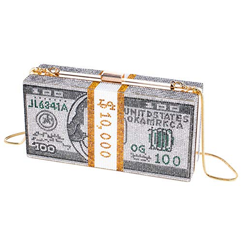 51zMLdu0kOL 💎【Exquisite design】: The internal space of this dollar handbag is designed with compartments. It has enough space to accommodate mobile phones, some personal items, credit cards, cash and other items. The appearance adopts the pattern image of US dollar banknotes, which is characteristic and fashionable. The overall design is elegant and atmospheric, showing femininity. 💎【Strong practicality】: This rhinestone clutch is equipped with a detachable long chain shoulder strap, which can be transformed into a shoulder or crossbody bag. The opening method is a magnetic button, which is easy to open and close, and it has an anti-theft effect. 💎【Excellent material】: This handbag is made of alloy material, and the body of the bag is inlaid with rhinestones, which is very shiny. It uses hand-set rhinestones and is very strong. Not easy to deform, stylish and durable.