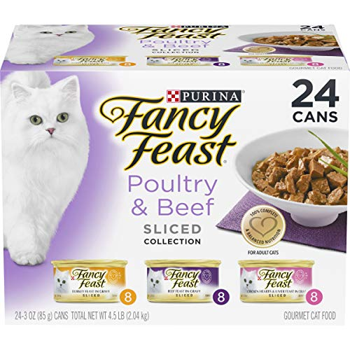 Purina Fancy Feast Gravy Wet Cat Food Variety Pack, Poultry & Beef Sliced Collection - (24) 3 oz. Cans