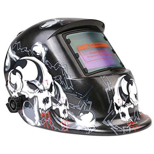 Schweißmaske, FIXKIT Solar Schweißhelm Automatik Schweißhelme Großes sichtfeld für die Anwendungen MIG/MAG/TIG/Schleifen/Lichtbogenschweißen/Plasma schneiden- CE/RoHS Zertifiziert (Totenkopf)