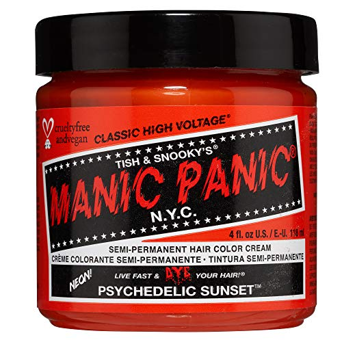 Manic Panic Psychedelic Sunset Orange Hair Color Cream Classic High Voltage Semi-Permanent Hair Dye, Radiant, Fiery Orange Shade. For Dark, Light Hair. Vegan, PPD & Ammonia-Free. Ready-to-Use, No-Mix