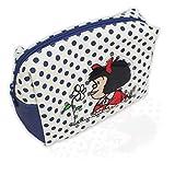 Mafalda Neceser de maquillaje cosmético azul y blanco