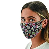 Snoozies Face Masks - 3-Layer Cloth Face Mask - Washable Fabric Face Mask Reusable with Filter Pocket - Adjustable Ear Loops - Resealable Pouch - 4 Disposable Filters Included - Skulls