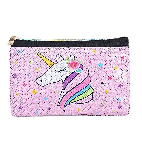 Unicorno Trousse Make Up - Cosmetici Borsa con Paillette Astuccio Borsa Trousse per il Trucco Rosa per ragazze donne Borsa a Mano Astuccio Portapenne Portafoglio Regalo di Compleanno di Viaggio