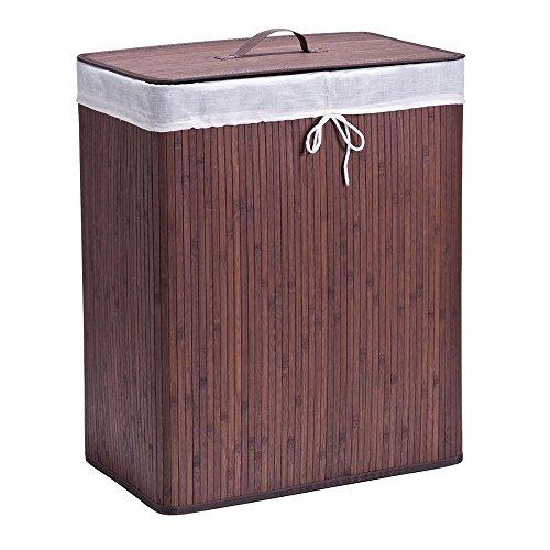 Zeller 13414 Wäschesammler, 2-fach, Bamboo, 52 x 32 x 63 cm, braun