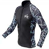 NATYFLY Wetsuit Jacket Long Sleeve Neoprene Wetsuits Top for Men/Women (Blue-Lycra, 2X-Large)