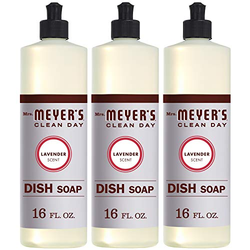 Mrs. Meyer's Clean Day Liquid Dish Soap, Cruelty Free Formula, Lavender Scent, 16 oz- Pack of 3