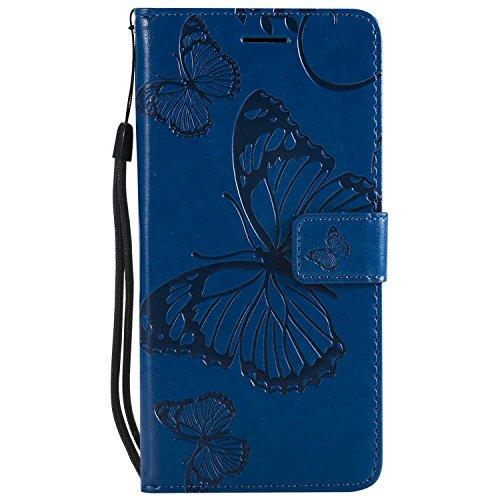 DENDICO Cover Huawei P10 Lite, Pelle Portafoglio Custodia per Huawei P10 Lite Custodia a Libro con Funzione di appoggio e Porta Carte di cRossoito - Blu
