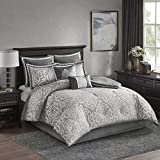 Madison Park Odette Comforter Set Jacquard Damask Medallion Design All Season Down Alternative Bedding, Matching Shams, Bedskirt, Decorative Pillows, Queen(90'x90'), Silver
