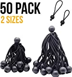 4inch & 6 inch 50PK Ball Bungee Canopy Cord Black Color For Securing Household Items, Securing Automotive Items