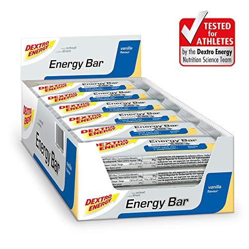 Energieriegel Vanille Dextro Energy | 24x50g Ausdauer Riegel & Protein Riegel in einem | Mit Kohlenhydraten & Magnesium | Protein Cookie Alternative