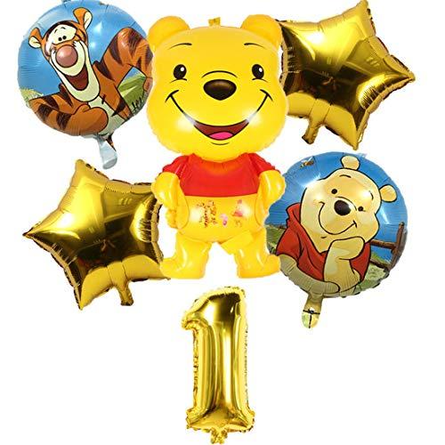 Confezione da 6 Palloncini Winnie The Pooh Miotlsy-Decorazione A Tema di Winnie The Pooh Set di Temi di Gioco per Feste,carneval e Compleanni,Ideale per Decorare Le tue Feste.