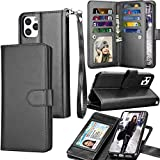 Tekcoo Wallet Case for iPhone 11 / iPhone11 (6.1 inch) 2019 Luxury ID Cash Credit Card Slots Holder Carrying Pouch Folio Flip PU Leather Cover [Detachable Magnetic Hard Case] Lanyard - Black
