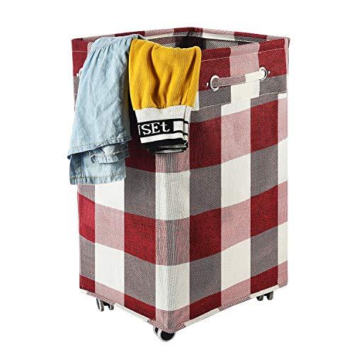 Haundry Zusammenklappbarer Wäschekorb mit Rollen, 86 l, Größe XL, wasserdicht, rollbar, für schmutzige Kleidung, Rot