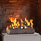 Regal Flame 5 Piece 16' Ceramic Wood Gas Fireplace Logs Logs for All Types of Indoor, Gas Inserts, Ventless & Vent Free, Propane, Gel, Ethanol, Electric, or Outdoor Fireplaces & Fire Pits (Oak)