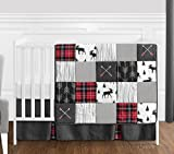 Grey, Black and Red Woodland Plaid and Arrow Rustic Patch Baby Boy Crib Bedding Set by Sweet Jojo Designs - 4 Pieces - Flannel Moose Gray