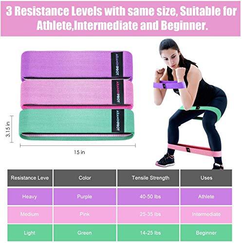 Bande Elastiche di Resistenza, Set Fasce Elastiche Fitness in Tessuto (3 Pezzi) con 3 Livelli di...