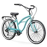 sixthreezero Around The Block Women's 7-Speed Beach Cruiser Bicycle, 24' Wheels, Teal Blue w/Black/Seat/Grips, 14'/One Size