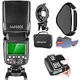 Neewer 2.4G Wireless 1/8000 HSS TTL Master/Slave Blitz Speedlite Set für Kamera mit neuem Mi Schuh, Enthält: NW880S Blitz, N1T-S Auslöser, S-Typ Halterung, 16x16 Zoll Softbox, 20 Stück Farbfilter