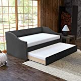 Boyd Sleep Electra Upholstered Platform Daybed and Pull Out Guest Trundle Bed Frame Mattress Foundation with Strong Wood Slat Supports: Tufted Linen and Rivets, Black, Twin