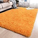 YJ.GWL Soft Shaggy Area Rugs for Bedroom Fluffy Living Room Rugs Anti-Skid Nursery Girls Carpets Kids Home Decor Rugs 5.3 x 7.6 Feet Orange
