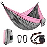 CAMDEA Double Camping Hammock with Tree Straps, Camp Lightweight Portable Hammock 2 Person, Hammock Tent Swing for Sleeping, Backpacking, Travel, Outdoor, Beach, Hiking, Sport Gray/Pink
