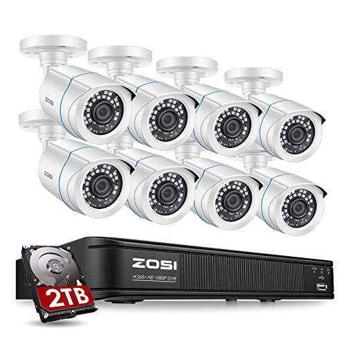 ZOSI Full 1080p Security Camera System for Home,H.265+ CCTV DVR 8 Channel with Hard Drive 2TB and 8 x 1080p Surveillance Bullet Camera Outdoor with 80ft Night Vision,Remote Access,Motion Detection