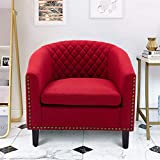 Goujxcy Accent Barrel Chair, Modern Upholstered Living Room Chair with Nailheads and Solid Wood Legs, Barrel Club Chair Comfy Single Sofa Office Guest Chair for Living Room Guestroom Bedroom (Red)