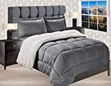 Elegant Comfort Premium Quality Heavy Weight Micromink Sherpa-Backing Reversible Down Alternative Micro-Suede 3-Piece Comforter Set, King, Grey