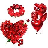 Jonami Bougies Romantiques et Pétales. 50 Bougies en Forme de Coeur + 1000 Pétales de Rose Rouges en Soie + 5 Ballons Coeur Rouges - Décoration pour Mariage,...