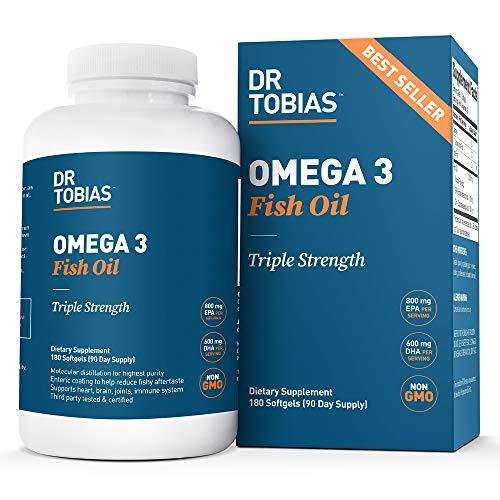 Dr Tobias Omega 3 Fish Oil Triple Strength, 2,000mg, Burpless,...