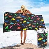 Lawenp Toalla de Playa de Secado rápido, Lindas Toallas de baño Ligeras de Microfibra con Estampado de Dinosaurios, súper absorbentes para niños y Adultos, 27.5 'X55'
