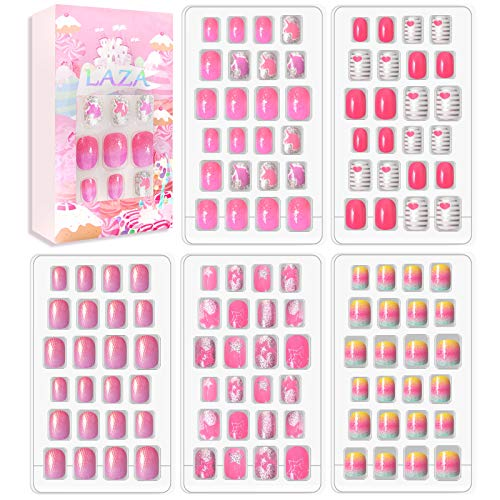 Laza 120pcs Children Nails Girls Press On Artificial Nail Tips Pre-glue Full Cover Short Cute False Nail Kits Lovely Christmas Gift for Children Kids Little Girl Nail Art Decoration - Pinky Lady