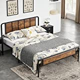 VECELO Full Size Bed Frame Metal Platform with Wooden Headboard Footboard Set, No Box Spring Needed, Strong Steel Slat Support, Easy Assembly / Under Bed Storage/ Brown